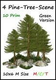 10 L$  4 pine trees scene green 10 prim 10x6m size ( for forest landscaping waterfall cave grotto )