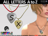 [SuXue Mesh] Corazon Necklace Engraving A to Z, HUD included Metals Chains & Leathers 16 colors, Resize, Unisex 1 Box