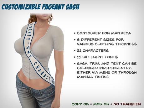 Customizable Pageant Sash (Maitreya)