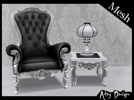 Second Life Marketplace Athy Designs Victorian High Back Chair Set Silver Black Antique Baroque Gothic Living Room Furniture
