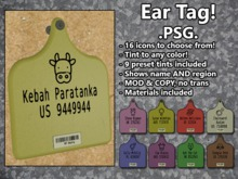 .PSG. Ear Tag for Pets, Hucows, Farm animals, and More!