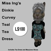 Miss Ing's Dinkie Curvey Teal Tea Dress Boxed