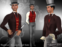 !!Cattivo - Thadicus Victorian Suit in Burgundy and Slate