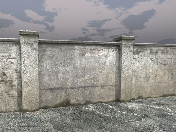 Concrete fence wall - Low Prim - HD Textures