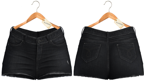 Blueberry - Pia - High Waist - Denim Shorts - Black