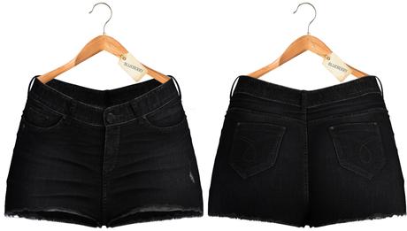 Blueberry - Pia - High Waist - Denim Shorts - BlackDark