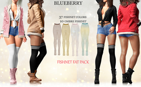 Blueberry - Pia - Fishnet Tights - Fat Pack