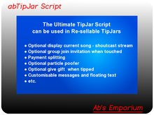 Tip Jar Script - Ultimate TipJar Script - Copy & Transfer - Make and sell tip jars with the abTipJar script