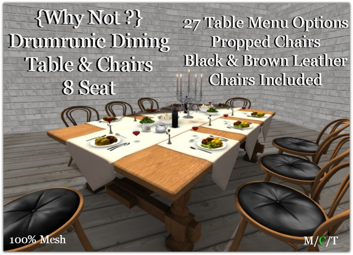 {Why Not ?}Drumrunie Dining Table & Chairs{8 Seat}-Boxed
