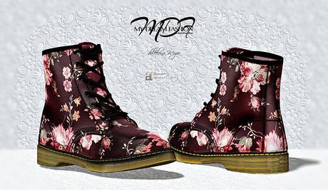 MDF  Martin Boots   - Bordo Floral  - (wear/rez)