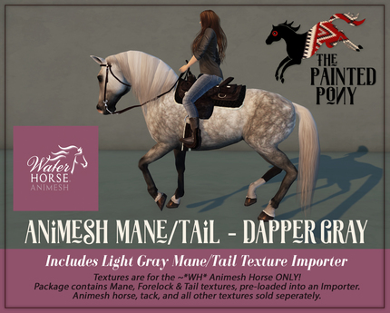 The Painted Pony~ Dapper Gray WH Animesh Mane/Tail, for the *WH* Animesh horses