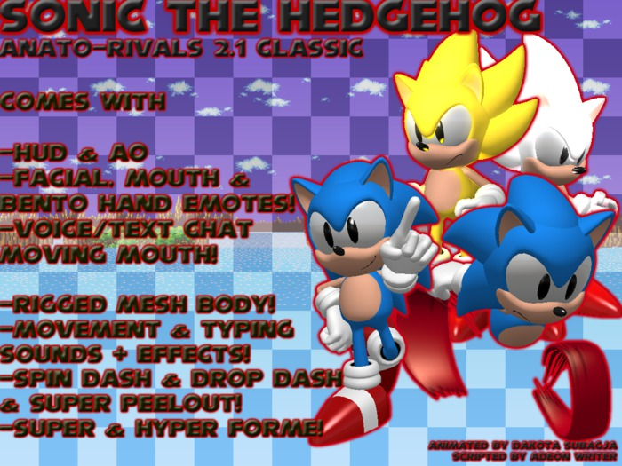 Second Life Marketplace Lcd Anato 2 1 Classic Sonic The Hedgehog Avatar