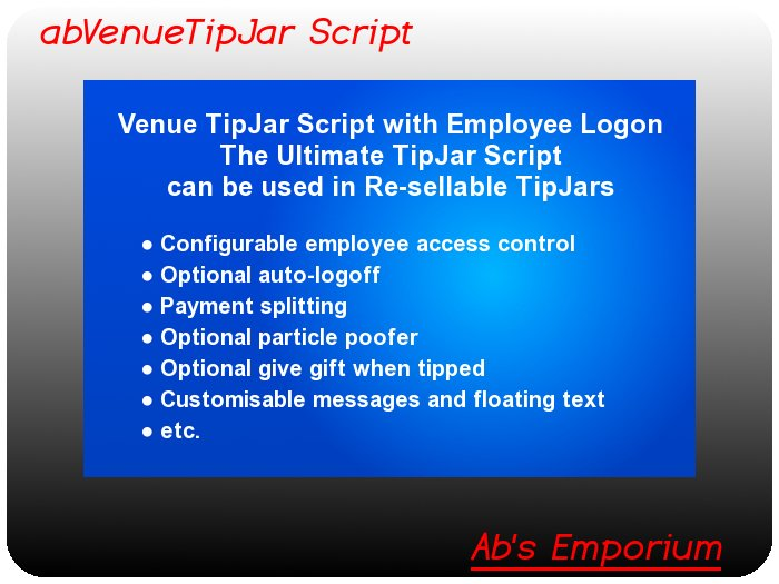 Tip Jar Script - Ultimate Tipjar Script for Clubs & Venues - Copy & Transfer - Make and sell tip jars with this script