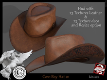 (*.*) Cow-boy Hat  Unisex -01  - wear to unpack