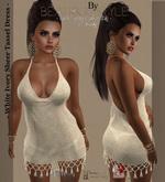 """BeatriceStyle"" - White Ivory Sheer Tassel Dress"