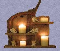 "HOME Interior Wood Wall Art ""Shelf Candles & Fairies"" 3D look Hand Made Craft Decor Designs copy/mod 1 prim PROMO SALE"