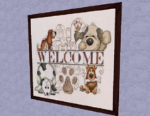 "HOME Interior Wall Art Needlepoint ""PUPPY DOG WELCOME"" Framed Hand Made Craft Decor Designs copy/mod 1 prim PROMO SALE"
