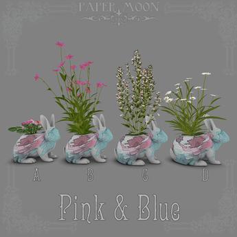 *pm* Wildflower Wabbits Planters: Pink & Blue