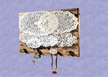 "HOME Interior Wall Decor Art ""Hanging Wood Plaque Hooks & Doilies"" Designed House Furnishings copy/mod 1 Prim PROMO SALE"