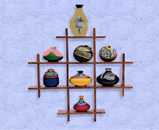 Second Life Marketplace Home Interior Wall Art Wood Shelf With Fancy Vases 3d Look Hand Craft Decor House Furnishings Copy Mod 1 Prim Promo