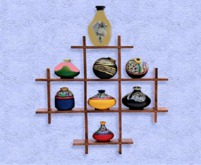 """HOME Interior Wall Art """"WOOD SHELF with FANCY VASES"""" 3D look"""