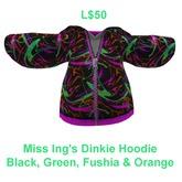 Miss Ing's Dinkie Black Green Pink Hoodie BOXED