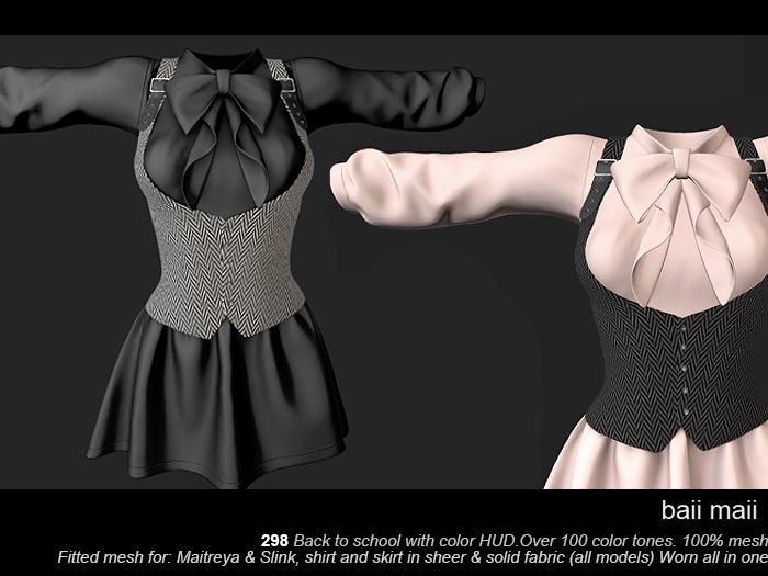 baii maii 298 Back to school wHUD Dress Mesh Maitreya Slink Apparel Clothes Woman's Shirt Skirt