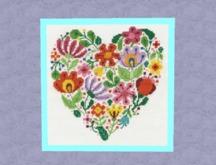 "HOME Interior Wall Art Needlepoint ""HEART FLOWERS"" aqua frame Hand Craft Decor House Furnishings Copy/Mod 1 Prim PROMO"