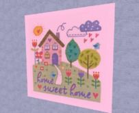 "HOME Interior Wall Art Needlepoint ""Home Sweet Home"" Pink frame Hand Made Craft Decor House Furnishings copy/mod PROMO"
