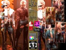 V-Twins - Biker Clothes - Hunger Biker Version **MESH Top & Jeans [Mesh Body Compatible] Maitreya Slink & Belleza