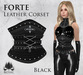 [ROSAL] FORTE Sculpted Leather Corset - Black