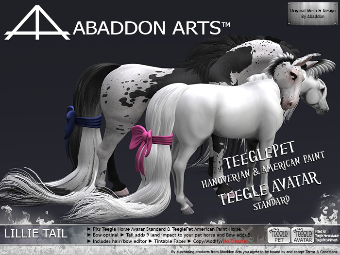 ABADDON ARTS - THAV/PET - Lillie Tail STEEL~PLATINUM