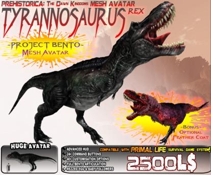 TYRANNOSAURUS REX ~ Bento Mesh Dinosaur Avatar ~ Prehistorica: The Dawn Kingdoms