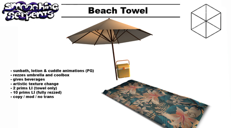 - Beach Towel - w Umbrella and Beverages, animated (PG)