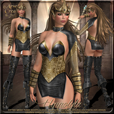 {AS} Hippolyta Fitted Mesh Outfit: Black Gold; Amazon, Queen, Goddess, Maitreya, Physique, Hourglass, Freya, Isis, Venus