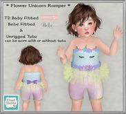 *CC* Fitted TD B/Bebe * Flower Unicorn Romper *(WEAR+click)