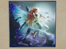 """GIF ANIMATED PICTURE FANTASY WALL ART """"Angel Playing Flute Musi"""