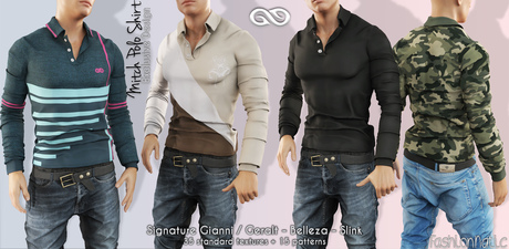 MITCH MALE POLO SHIRT FATPACK - MESH - SIGNATURE GIANNI - GERALT, SLINK, BELLEZA JAKE - FashionNatic