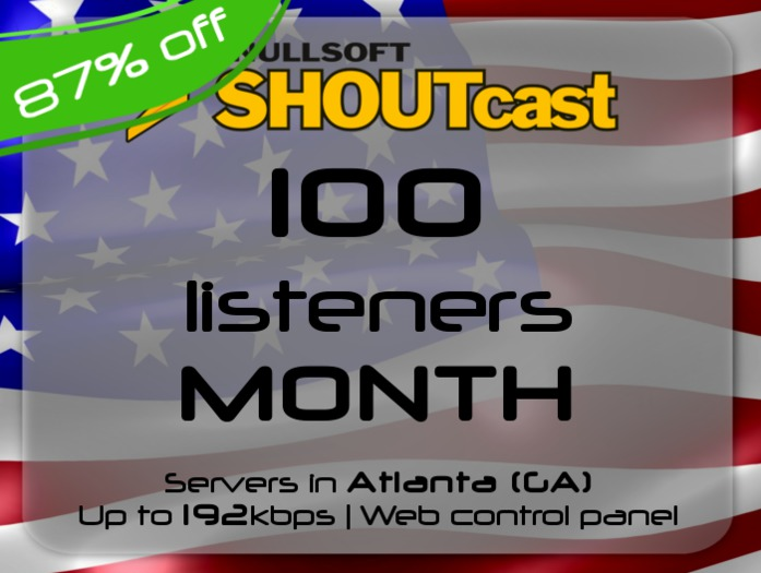 SHOUTcast stream server - 100 listeners - up to 192kbps - one month - Atlanta (GA), USA (87% off)