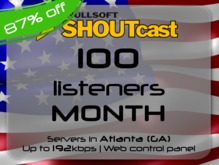 SHOUTcast stream server - 100 listeners - up to 192kbps - one month - Atlanta (GA), USA (Valentine's Day - 75% off)
