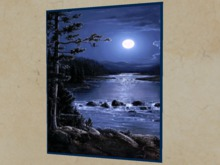 """ANIMATED GIF Wall Art Picture """"Moon Reflects on River"""" Copy/Mod Nature Moving Home Decor House Furnishings PROMO SALE"""