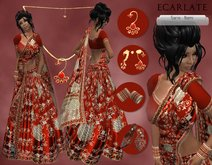 Ecarlate - Dress Saris Formal gown + Jewellery/ Robe Saris Formelle - Nami