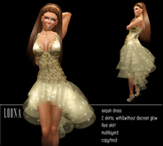 BD-Loona gold glamourous sequin & tulle gown evening dress with/without little glow
