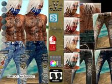 V-Twins Biker Clothes - Outlaw Biker Jeans **MESH (Mesh Body Compatible)