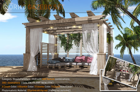 PROMO PRICE.: GIORNO:. GAZEBO | SOFA SET300 + animations ( MF, FF, FMM, FFM, FFMM ) COLOR HUD