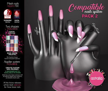 Astralia - Compatible nails system (Pack 2) Maitreya, Vista, Slink, Belleza BENTO