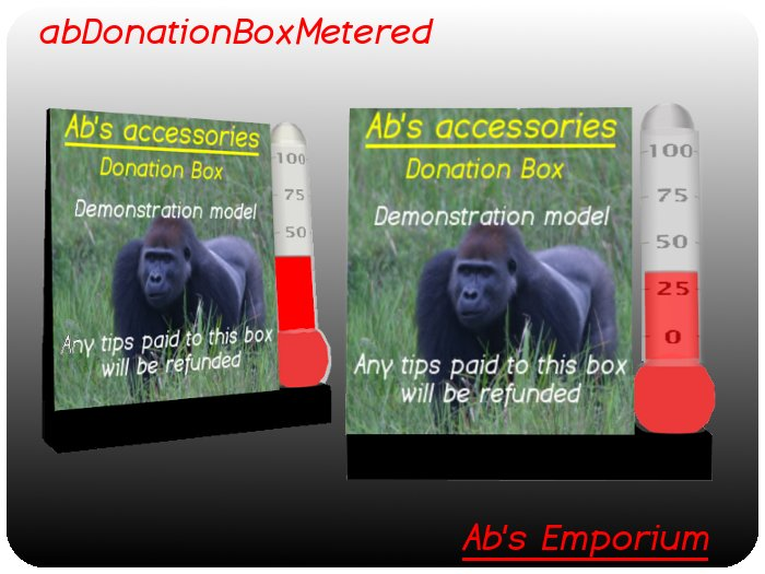Donation Box (Transfer) - Sim wide networked, percent thermometer gauge, tip jar target goal