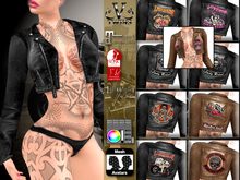 V-Twins Biker Clothes - Individual Items Mesh Jacket - Brazen Leather Collection (Slink Belleza & Maitreya)