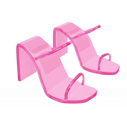 Iana Transparent Mules — Hot Pink