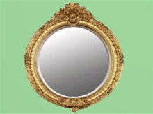 "HOME WALL DECOR Crafted Art ""Gold Round Carved Mirror""  Interior Design House Furnishings copy/mod 1 PRIM PROMO SALE"